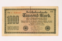 2012.191.2 front Weimar Germany, 1000 mark note  Click to enlarge