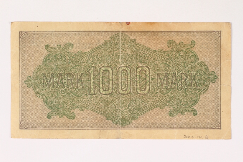 2012.191.2 back Weimar Germany, 1000 mark note