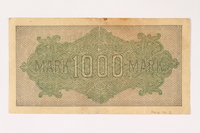 2012.191.2 back Weimar Germany, 1000 mark note  Click to enlarge