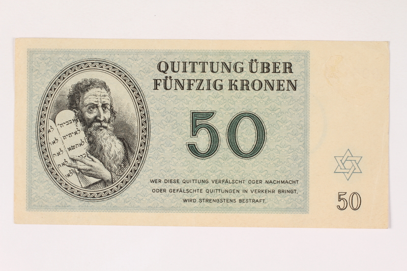 2006.51.2 front Theresienstadt ghetto-labor camp scrip, 50 kronen note, owned by a child inmate