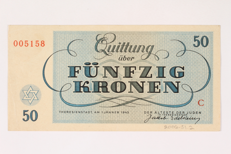 2006.51.2 back Theresienstadt ghetto-labor camp scrip, 50 kronen note, owned by a child inmate