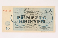2006.51.2 back Theresienstadt ghetto-labor camp scrip, 50 kronen note, owned by a child inmate  Click to enlarge