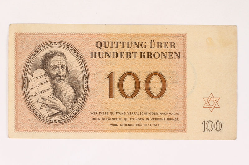 2006.51.3 front Theresienstadt ghetto-labor camp scrip, 100 kronen note, owned by a child inmate