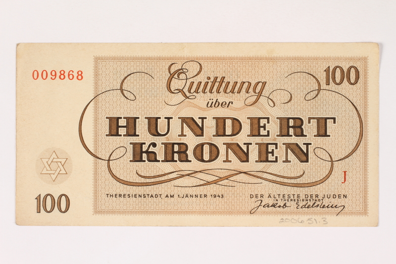 2006.51.3 back Theresienstadt ghetto-labor camp scrip, 100 kronen note, owned by a child inmate