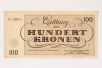 2006.51.3 back Theresienstadt ghetto-labor camp scrip, 100 kronen note, owned by a child inmate  Click to enlarge