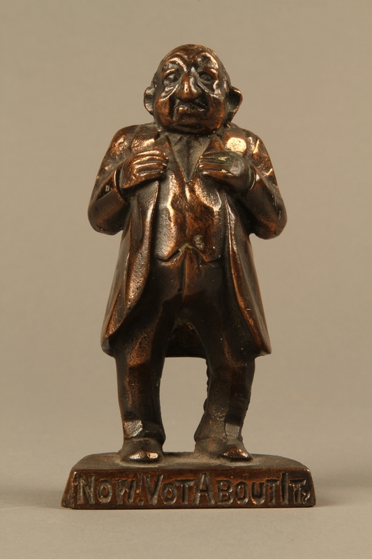 2016.184.146 front Bronze figurine mocking a pompous Jewish man with an accent