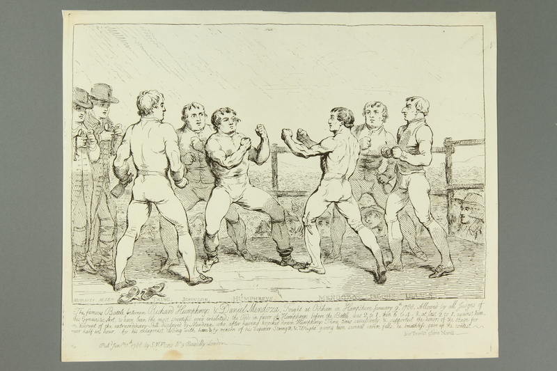2016.184.158 front Gillray etching of Jewish boxer Mendoza in 1st Humphreys bout