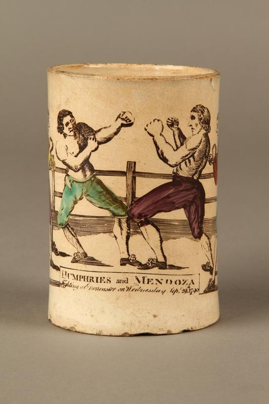 2016.184.156 front Staffordshire creamware mug of final Mendoza v. Humphreys bout