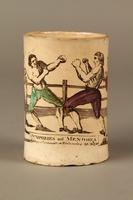 2016.184.156 front Staffordshire creamware mug of final Mendoza v. Humphreys bout  Click to enlarge