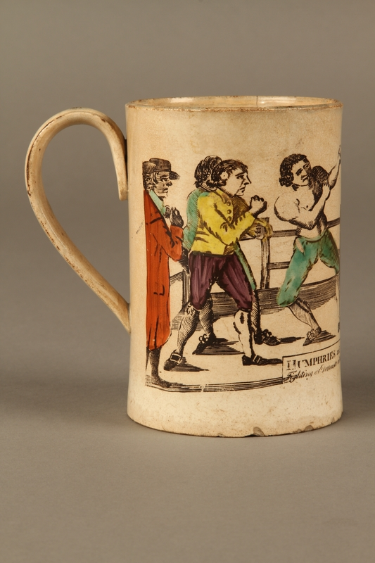 2016.184.156 right side Staffordshire creamware mug of final Mendoza v. Humphreys bout