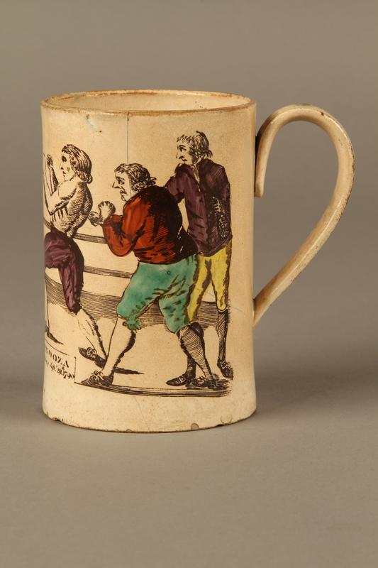 2016.184.156 left side Staffordshire creamware mug of final Mendoza v. Humphreys bout