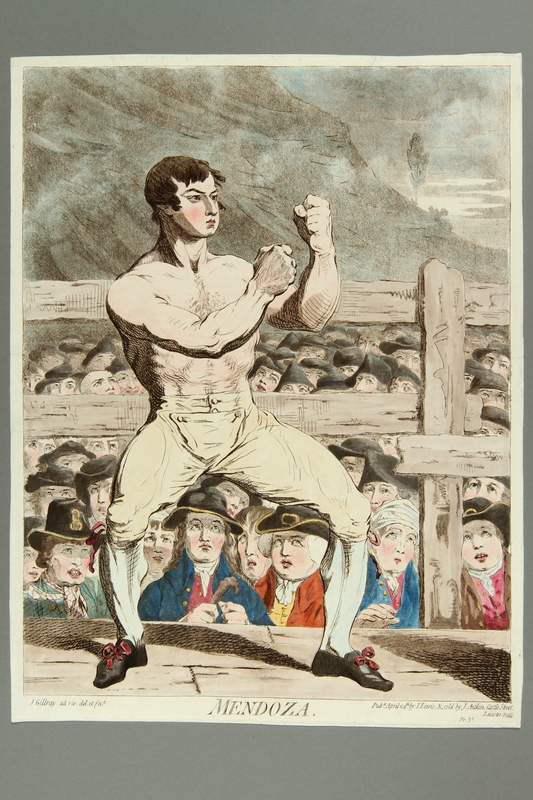 2016.184.161 front Gillray print of Jewish boxer Mendoza in fighting stance