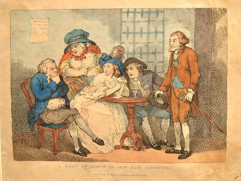 Rowlandson etching of a bailiff suspicious of a Jewish bail bondsman