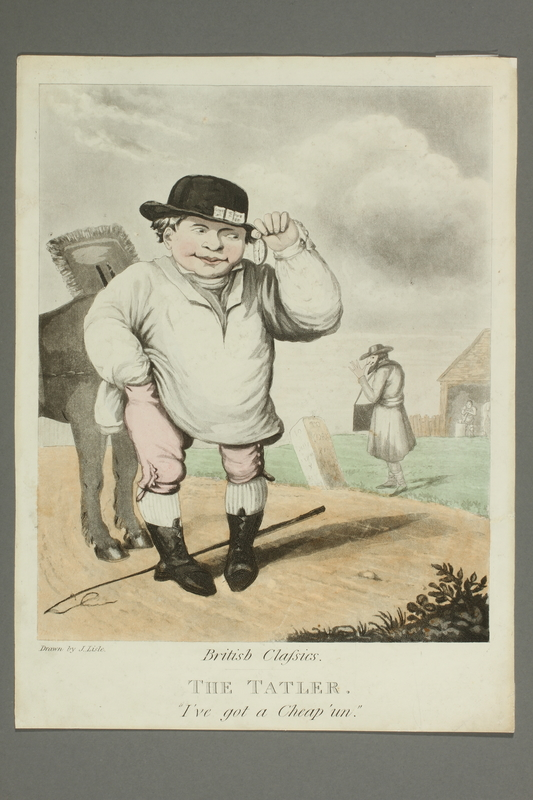 2016.184.166 front Cartoon of a jockey eyeing his watch bought from a Jewish peddler