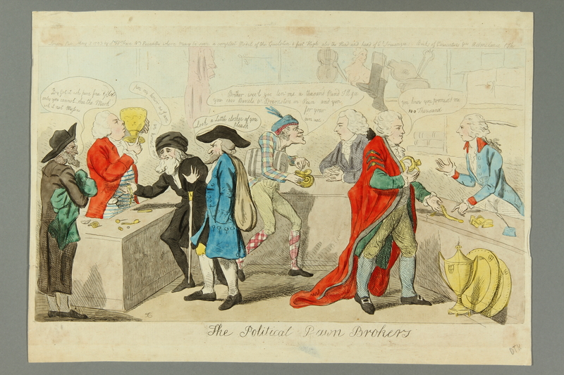 2016.184.167 front Cruikshank print of politicians bartering in a pawnshop