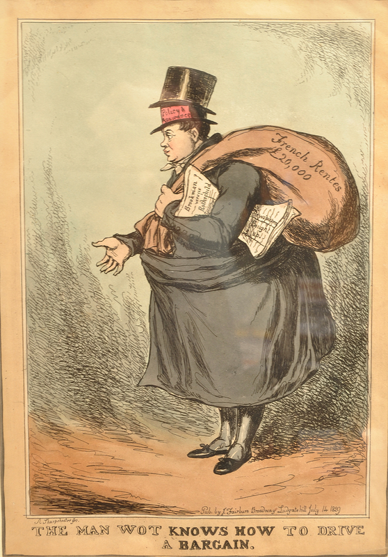Caricature of Nathan Mayer Rothschild with newspaper and sack