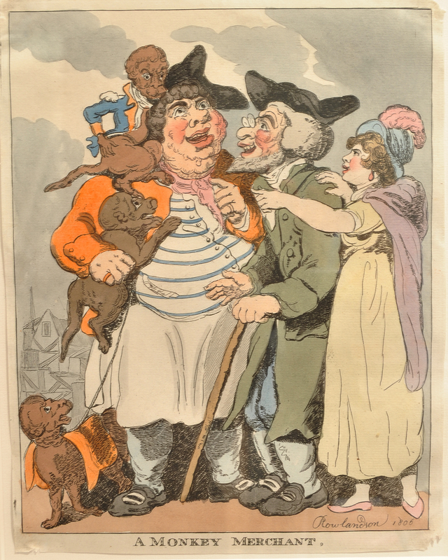 Rowlandson print of a monkey merchant with an old Jewish man and his gentile mistress