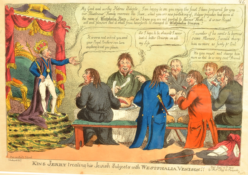 Satiric print about the emancipation of the Jews of Westphalia by King Jerome