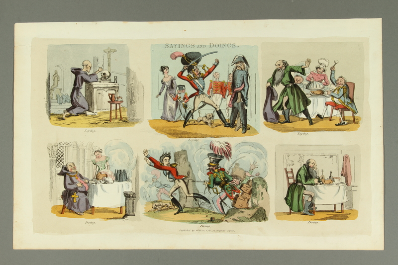 2016.184.177 front Print with 6 vignettes of a monk, a soldier, and a Jew
