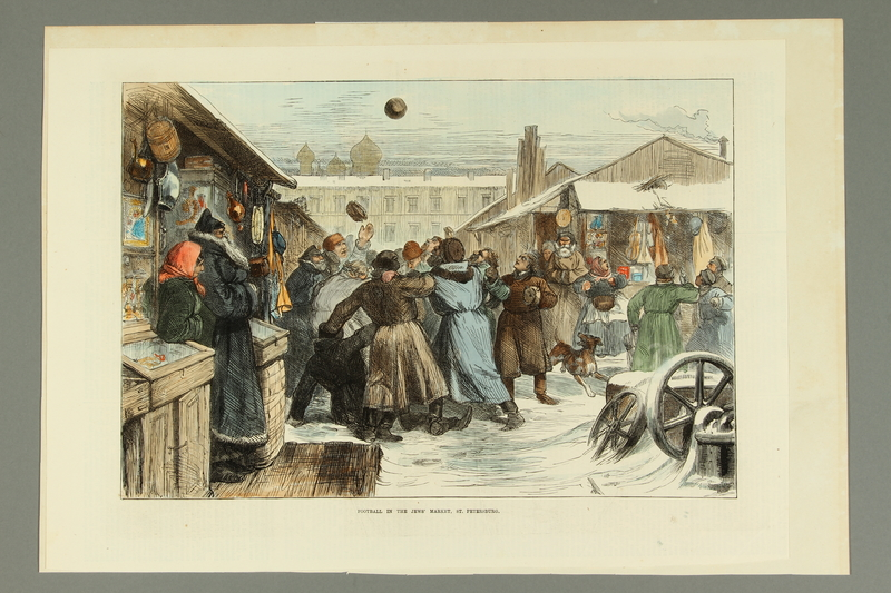 2016.184.178 front Color print of Jewish men playing soccer in a snow covered market