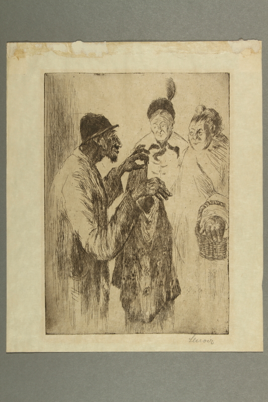2016.184.183 front Woodcut of a Jewish peddler showing clothes to 2 women