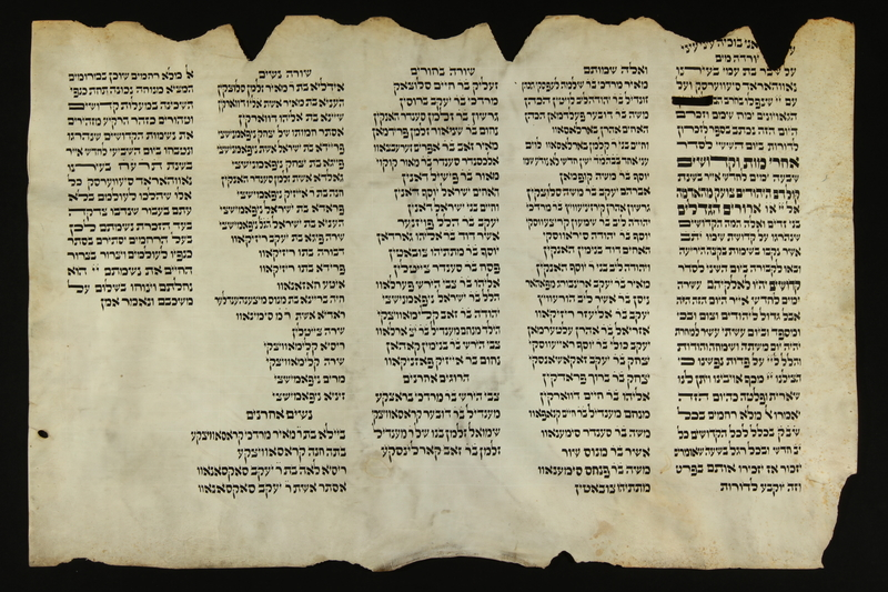 2016.184.184 front Damaged scroll describing an anti-Jewish pogrom and memorializing those killed