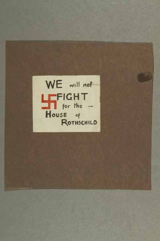 "2016.184.190 front Sticker with Swastika ""We will not fight for the house of Rothschild"""