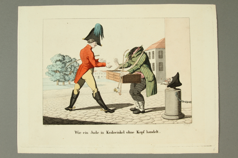 2016.184.192 front Print of a soldier bargaining with a headless Jewish peddler