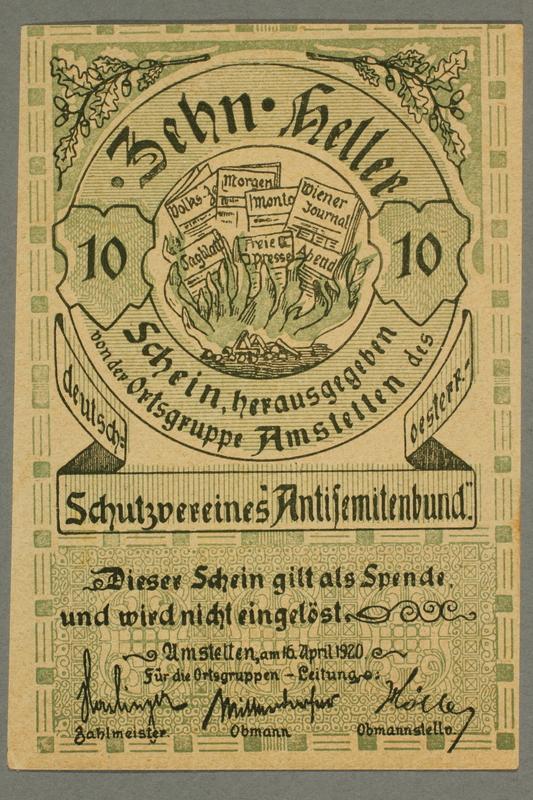 2016.184.194 front German-Austrian League of Anti-Semites, 10 heller donation receipt