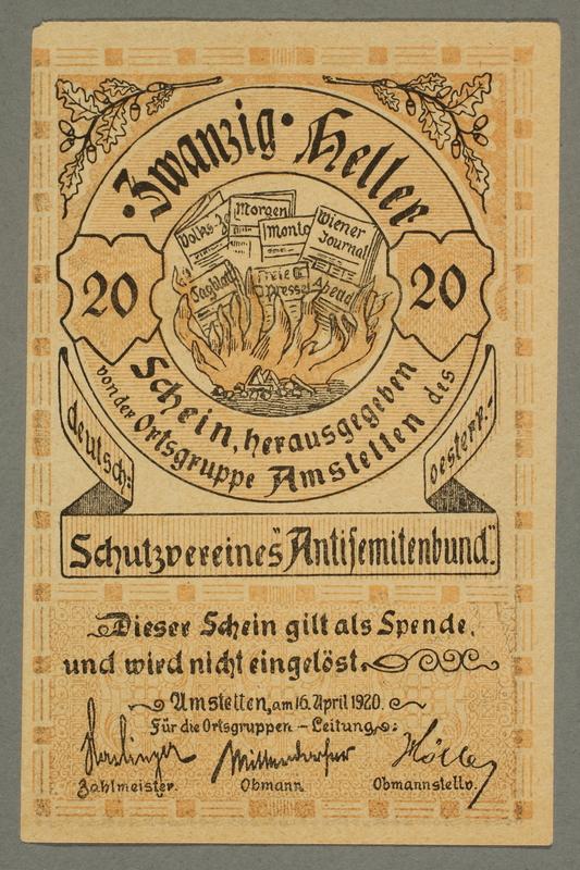 2016.184.195 front German-Austrian League of Anti-Semites, 20 heller donation receipt