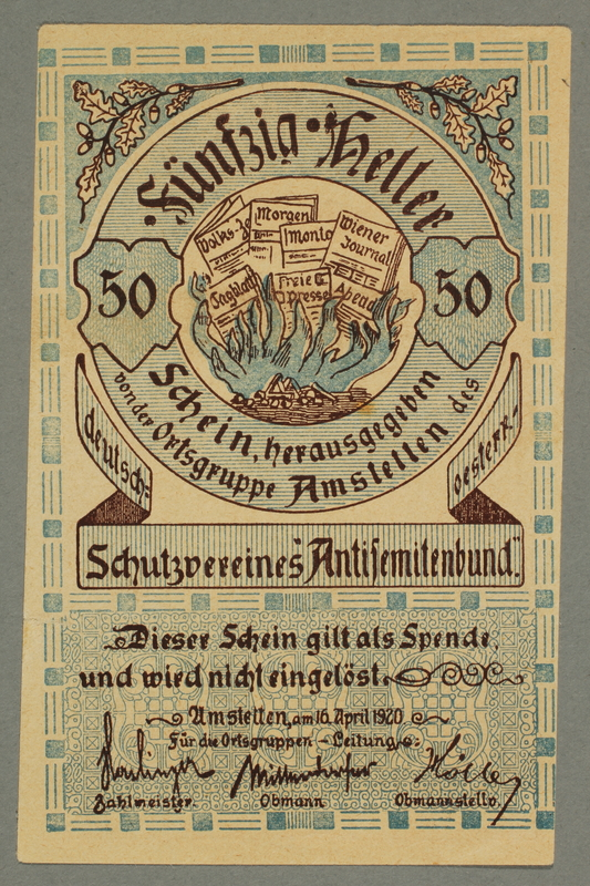 2016.184.196 front German-Austrian League of Anti-Semites, 50 heller donation receipt