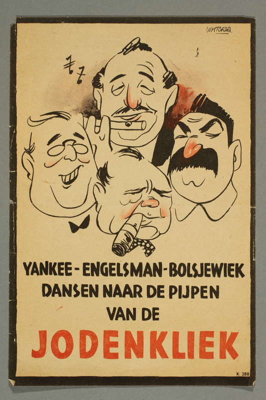 2016.184.197 front Nazi handbill of Roosevelt, Churchill, and Stalin controlled by Jewish piper