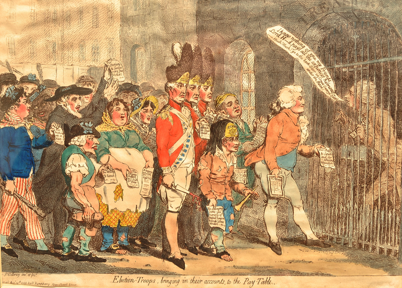 Gillray cartoon of paid voters settling accounts at the treasury