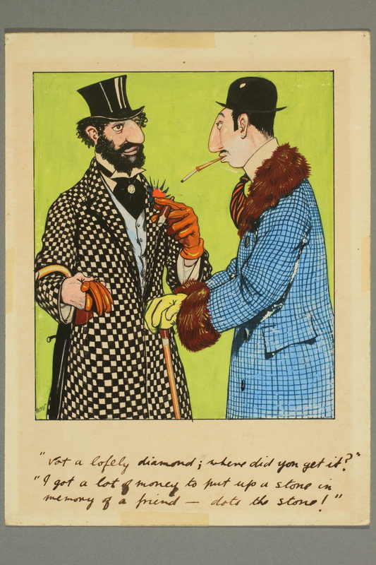 2016.184.201.2 front Color cartoon of two colorfully dressed Jewish men conversing
