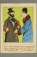 2016.184.201.2 front Color cartoon of two colorfully dressed Jewish men conversing  Click to enlarge