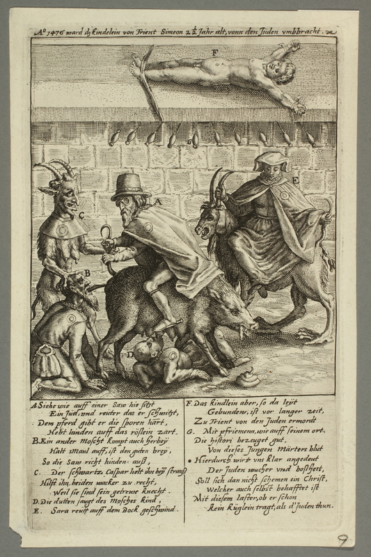 2016.184.202 front Print of Simon of Trent with the Devil and Jews performing grotesque acts