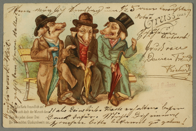 2016.184.203 front Inscribed postcard of three pigs as the three Jews sitting on a bench stereotype