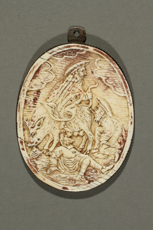 2016.184.212 front Ivory plaque depicting a Jew with the body of a pig