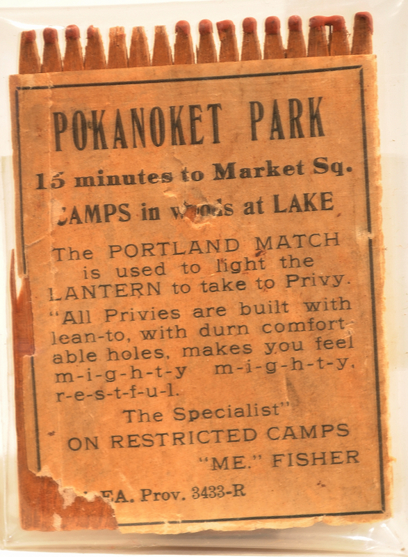 Matchbook advertising Pakanoket Park, a camp that excluded Jews