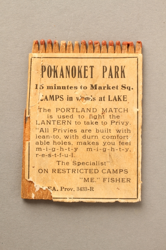 2016.184.214 front Matchbook advertising Pakanoket Park, a camp that excluded Jews