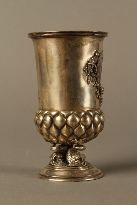 2016.184.215 right side Embossed silver goblet with an inset Korn Jude medal