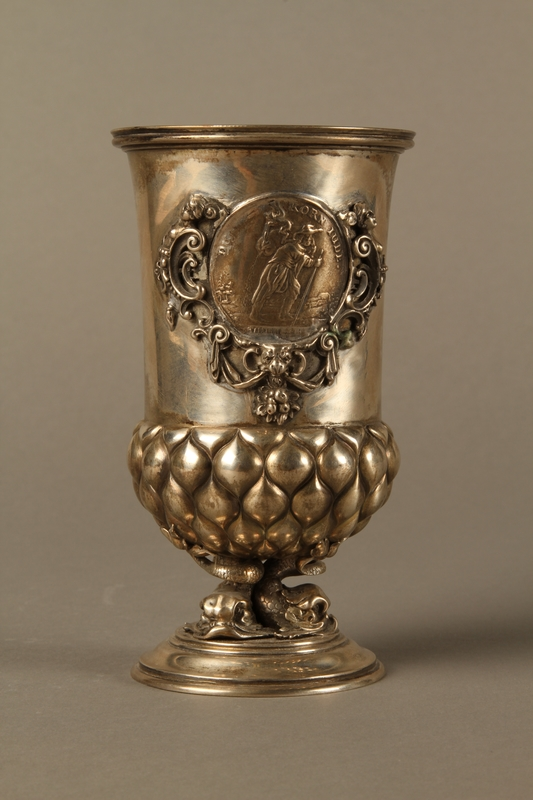 2016.184.215 front Embossed silver goblet with an inset Korn Jude medal