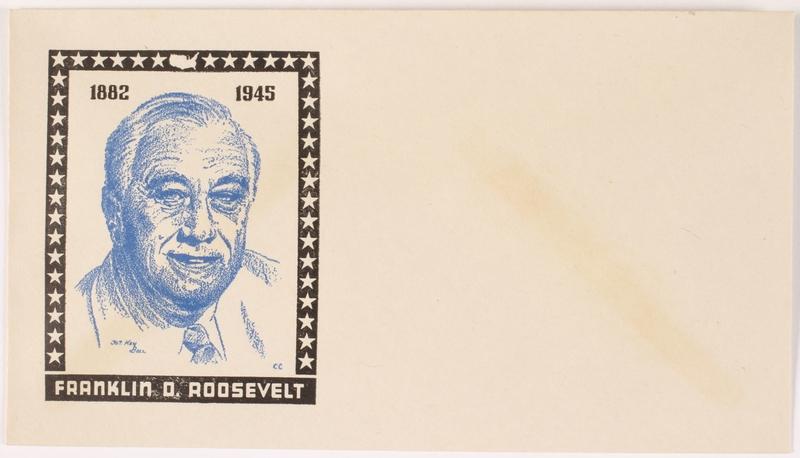 2015.542.1 front Unused envelope depicting President Roosevelt