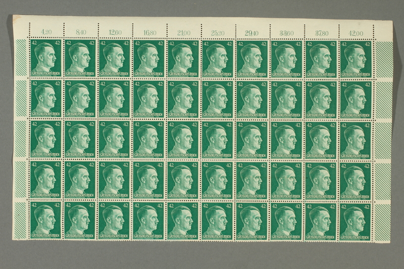 2016.182.1_a front Nazi Germany, 42 pfennig postage stamps, one sheet