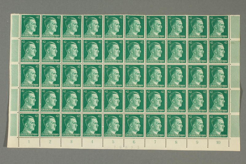 2016.182.1_b front Nazi Germany, 42 pfennig postage stamps, one sheet