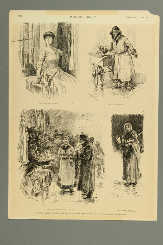 2016.184.223 front Magazine illustration of four Jewish peddlers in NYC