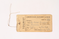 2008.321.2 front America Export Lines luggage tag used by a Polish Jewish survivor  Click to enlarge