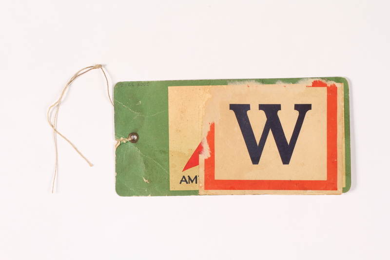 2008.321.2 back America Export Lines luggage tag used by a Polish Jewish survivor