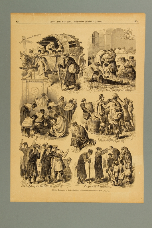 2016.184.225 front 19th century illustration of Jewish refugees waiting to immigrate