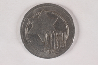 2015.544.2 back Łódź (Litzmannstadt) ghetto 10 mark coin owned by a former child internee  Click to enlarge